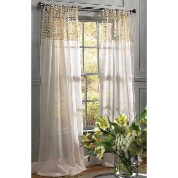 Manor Luxe Juliette Crochet Sheer Ivory 84 Inch Tab Top Curtain Panel