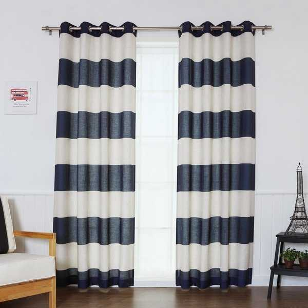 Aurora Home Cabana Stripe Flex Linen Blend Grommet Top Curtain Panel Pair - 52 x 84