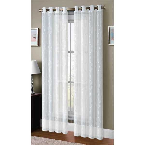 Window Elements Boho Embroidered Faux Linen Sheer 96-inch Extra-wide Grommet Curtain Panel Pair