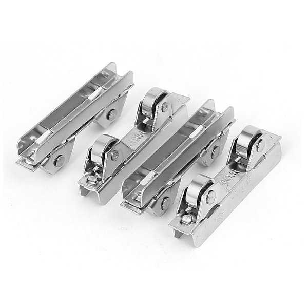Double Wheels Metal Sliding Door Roller Pulley Silver Tone 4pcs for 6mm Glass