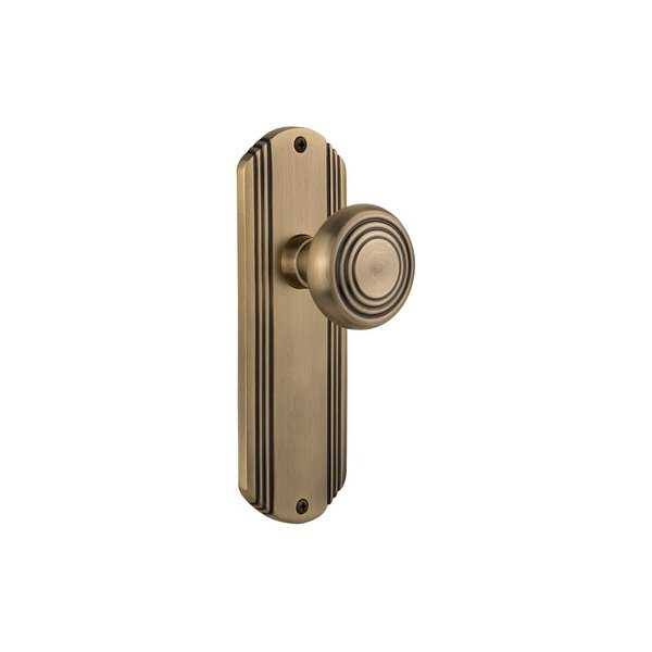 Nostalgic Warehouse DECDEC_PSG_238_NK Deco Solid Brass Passage Knob Set with 2-3/8' Backset - N/A