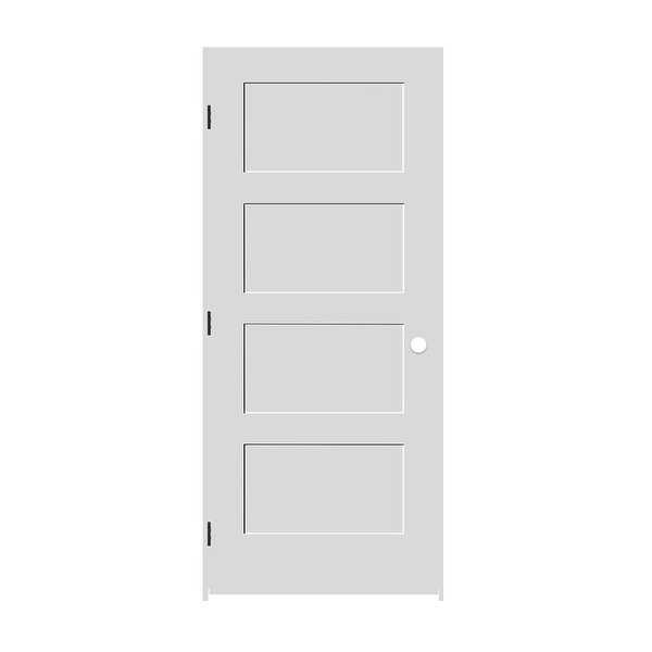 Trimlite 2168138-8444RH10B714 34' by 80' Shaker 4-Panel Right Handed Interior Pr - Primed - N/A